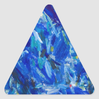 Blue Bust (abstract expressionism) Triangle Sticker