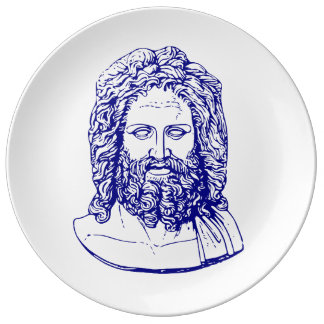 blue bust of Zeus party tray Dinner Plate