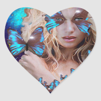BLUE BUTERRFLY BEAUTY MAKEUP ARTIST HEART STICKER