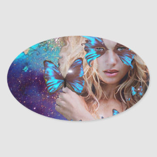 BLUE BUTERRFLY BEAUTY MAKEUP ARTIST OVAL STICKER