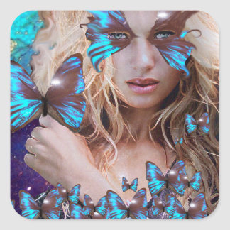 BLUE BUTERRFLY BEAUTY MAKEUP ARTIST SQUARE STICKER