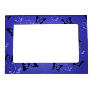 Blue Butterfies and Swirls Magnetic Frame