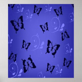 Blue Butterfies Poster