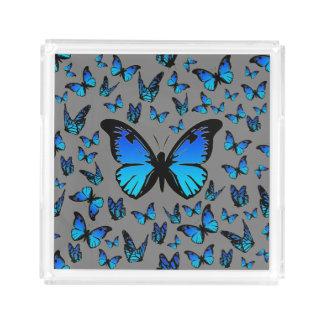 blue butterflies acrylic tray