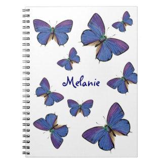 Blue Butterflies And Custom Name Notebook