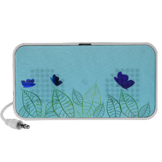 Blue butterflies and floral design speaker system