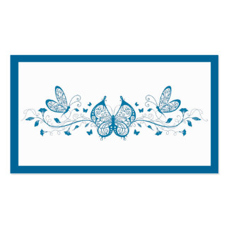 Blue Butterflies and Flowers Business Card Template