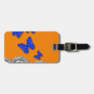 Blue Butterflies Black Roses Bag Tag