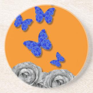 Blue Butterflies Black Roses Coaster