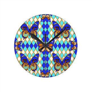 BLUE BUTTERFLIES  & BROWN ARGYLE PATTERN ROUND CLOCK