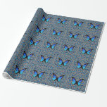 blue butterflies gift wrapping paper