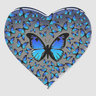 blue butterflies heart heart sticker