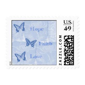 Blue Butterflies Hope Faith Love Postage