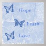 Blue Butterflies Hope Faith Love Poster