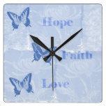 Blue Butterflies Hope Faith Love Wall Clock