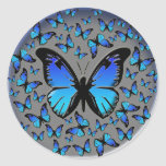 blue butterflies on a silver background round stickers