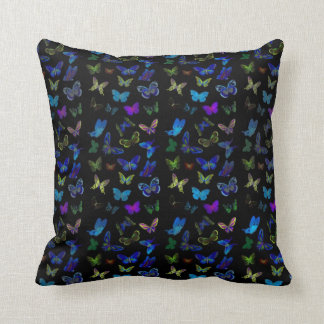 Blue butterflies on black pillow