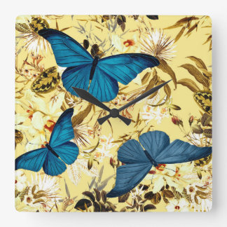 Blue Butterflies on Vintage Cream Floral Pattern Square Wall Clock