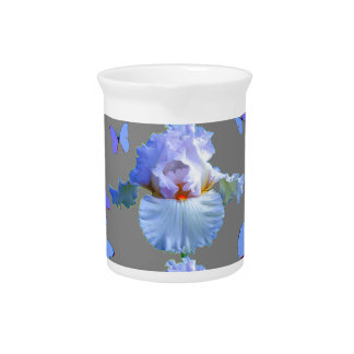 BLUE  BUTTERFLIES PASTEL IRIS GREY ART DRINK PITCHER