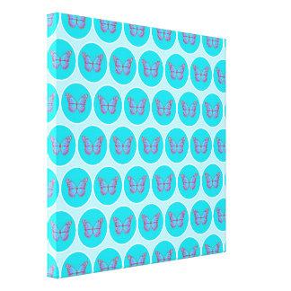 Blue butterflies pattern canvas print