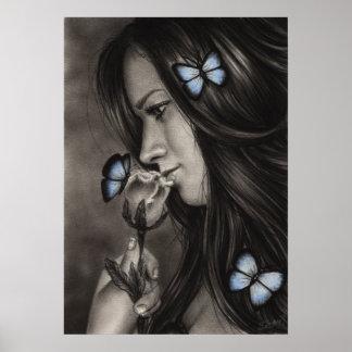 Blue Butterflies Poster