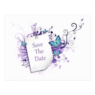 Blue Butterflies Purple Swirls Save The Date Postcard