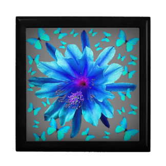 Blue Butterflies Tropical Flower Gifts Jewelry Box