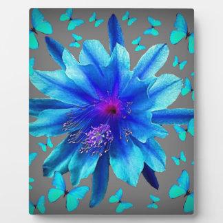 Blue Butterflies Tropical Flower Gifts Plaque
