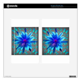 Blue Butterflies Tropical Flower Gifts Skins For Kindle Fire