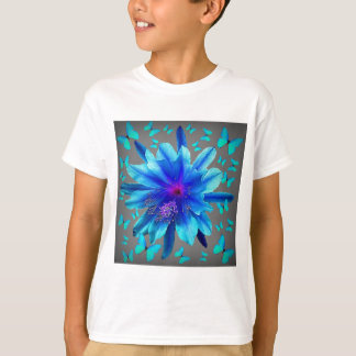 Blue Butterflies Tropical Flower Gifts T-Shirt