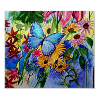 Blue Butterflly's Garden Print