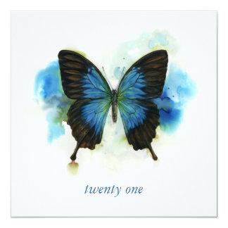 Blue Butterfly 21st Birthday Invitation