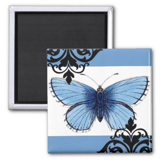 Blue Butterfly 2 Inch Square Magnet