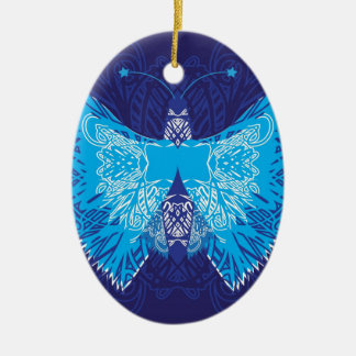 Blue Butterfly Abstract Ceramic Ornament