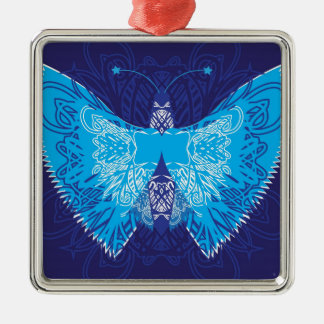 Blue Butterfly Abstract Metal Ornament