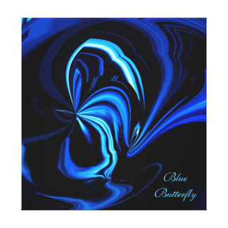 Blue Butterfly Abstract Wrapped Canvas Print