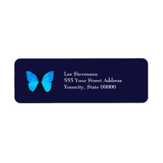 Blue Butterfly Address Label