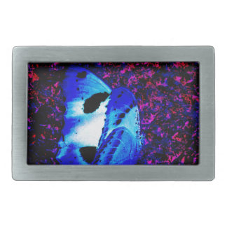 Blue butterfly amongst a colony of bats rectangular belt buckle
