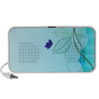 Blue butterfly and floral design PC speakers