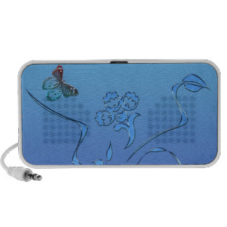 Blue Butterfly and Flourish Laptop Speakers