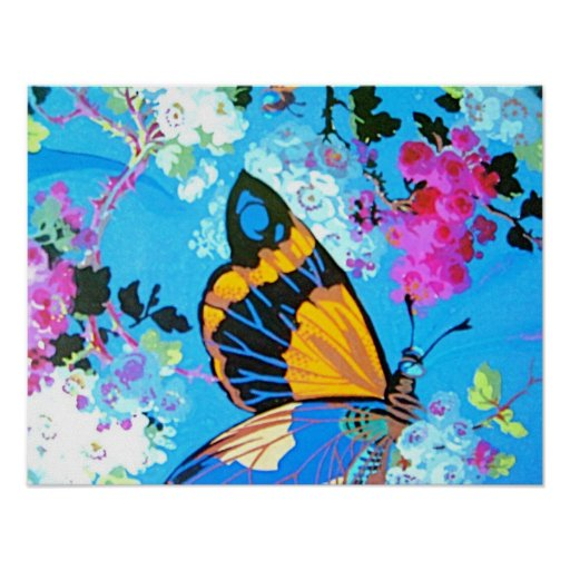 Blue Butterfly and Flower Poster