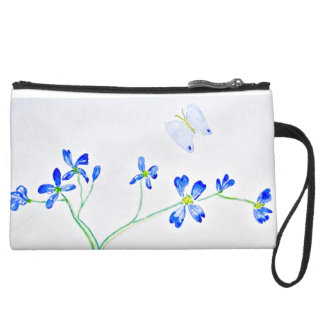 Blue butterfly and flowers wristlet clutch