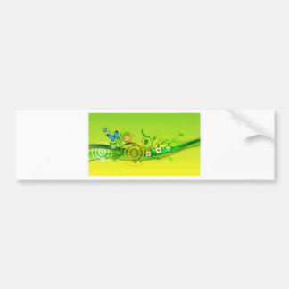 Blue Butterfly and Flowers on Green Swirl Bumper Sticker