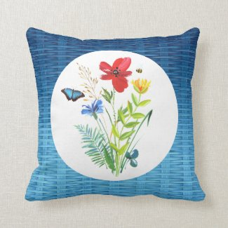 Blue Butterfly and Painted Flowers Throw Pillow