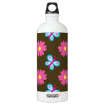 Blue Butterfly and Pink Flower Pattern Aluminum Water Bottle