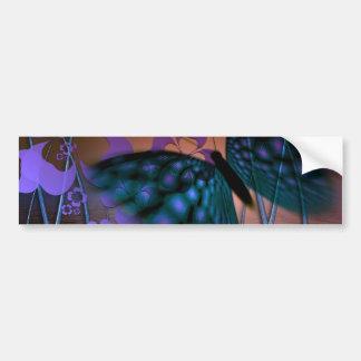 Blue Butterfly and Purple Flower Scene Bumper Sticker