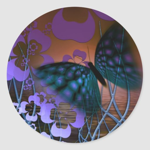 Blue Butterfly and Purple Flower Scene Classic Round Sticker