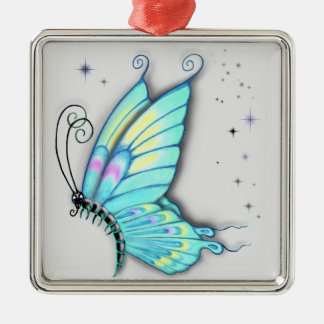 Blue Butterfly and stars Metal Ornament