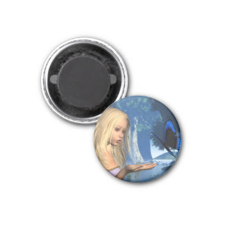 Blue Butterfly and Water Nymph - 2 1 Inch Round Magnet
