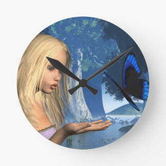 Blue Butterfly and Water Nymph - 2 Clocks